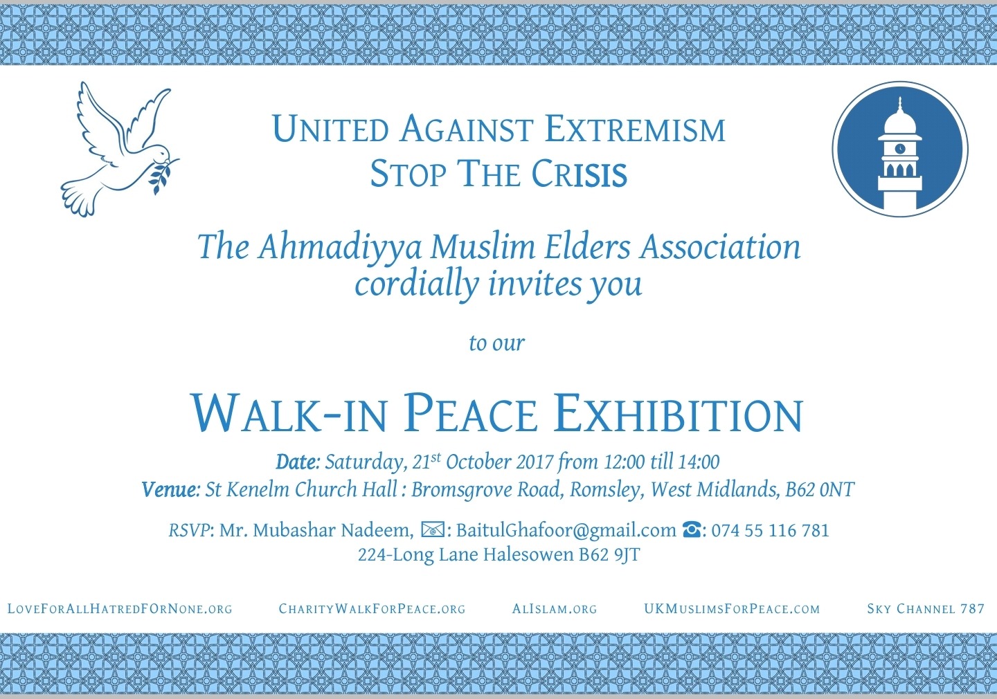 Peace exhibition will be held in Romsley