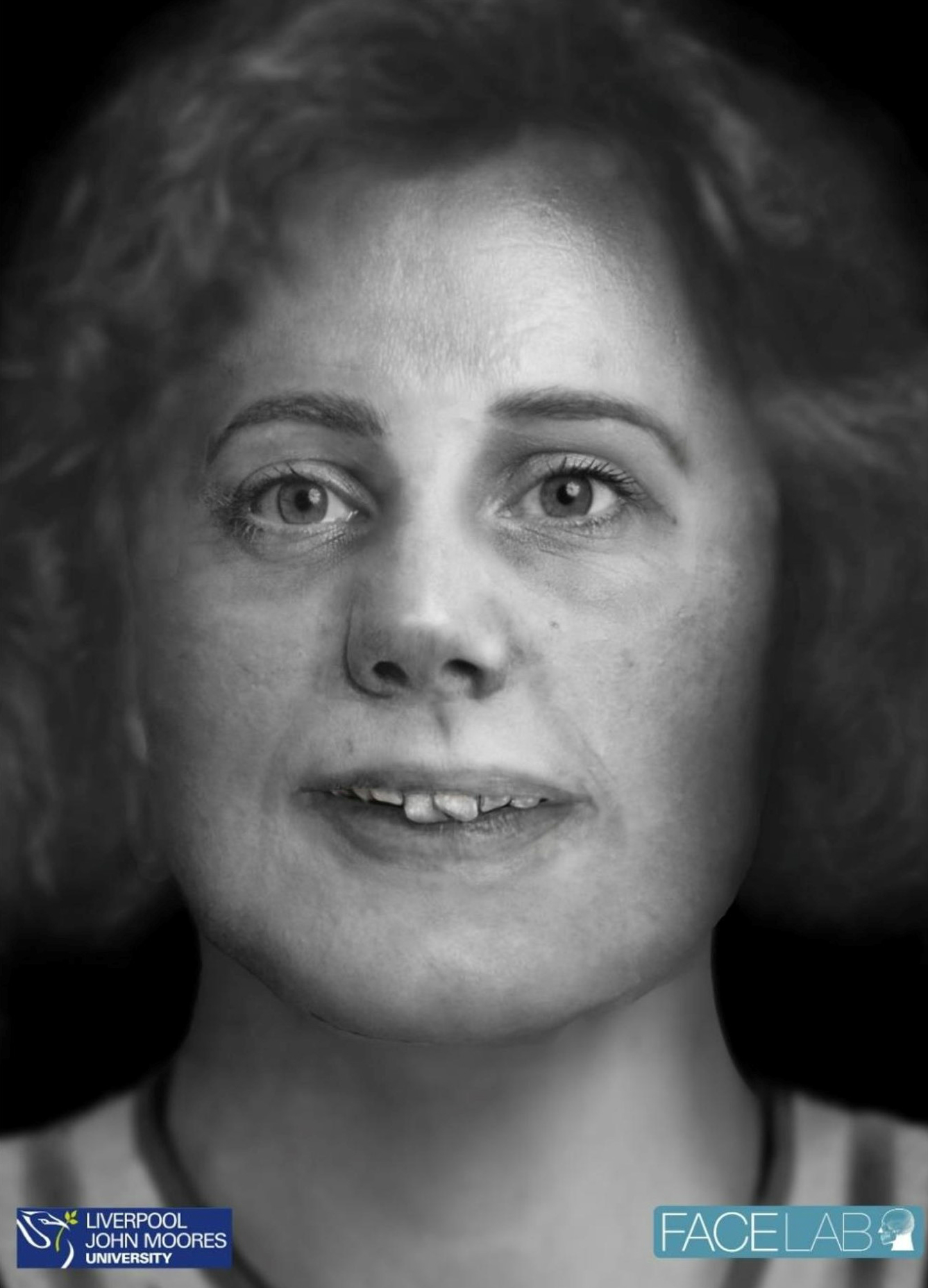 The face of Bella? Prof Caroline Wilkinson and Sarah Shrimpton from Face Lab / Liverpool John Moores University created a digital image of what Bella may have looked like using images of her skeletal remains. Pic courtesy of Pete Merrill / APS Books
