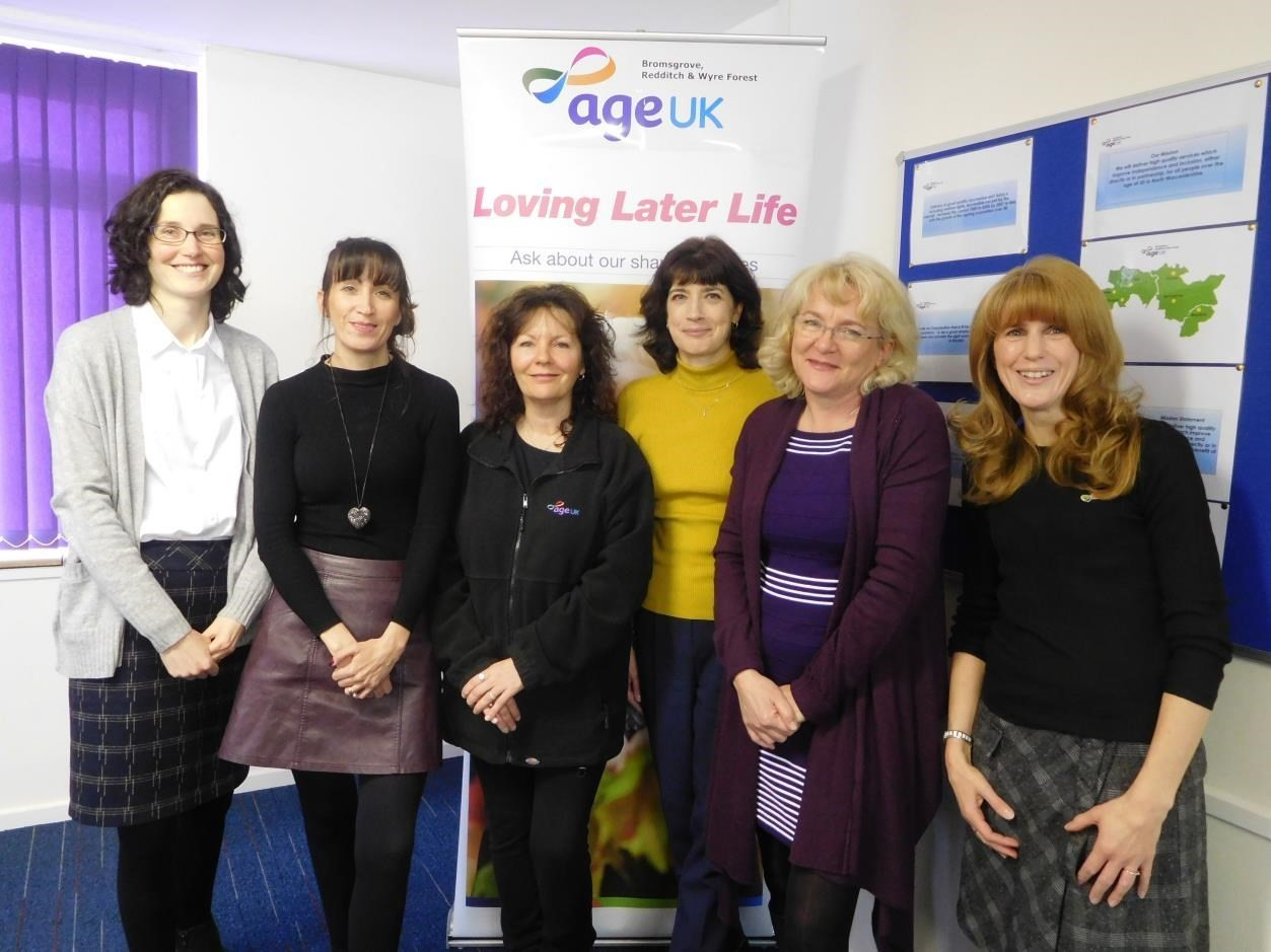 New Interim CEO of Age UK BRWF, Sam Humphray (third from right) with members of the Age UK BRWF Team, including interim head of services, Amanda Allen (2nd from right).
