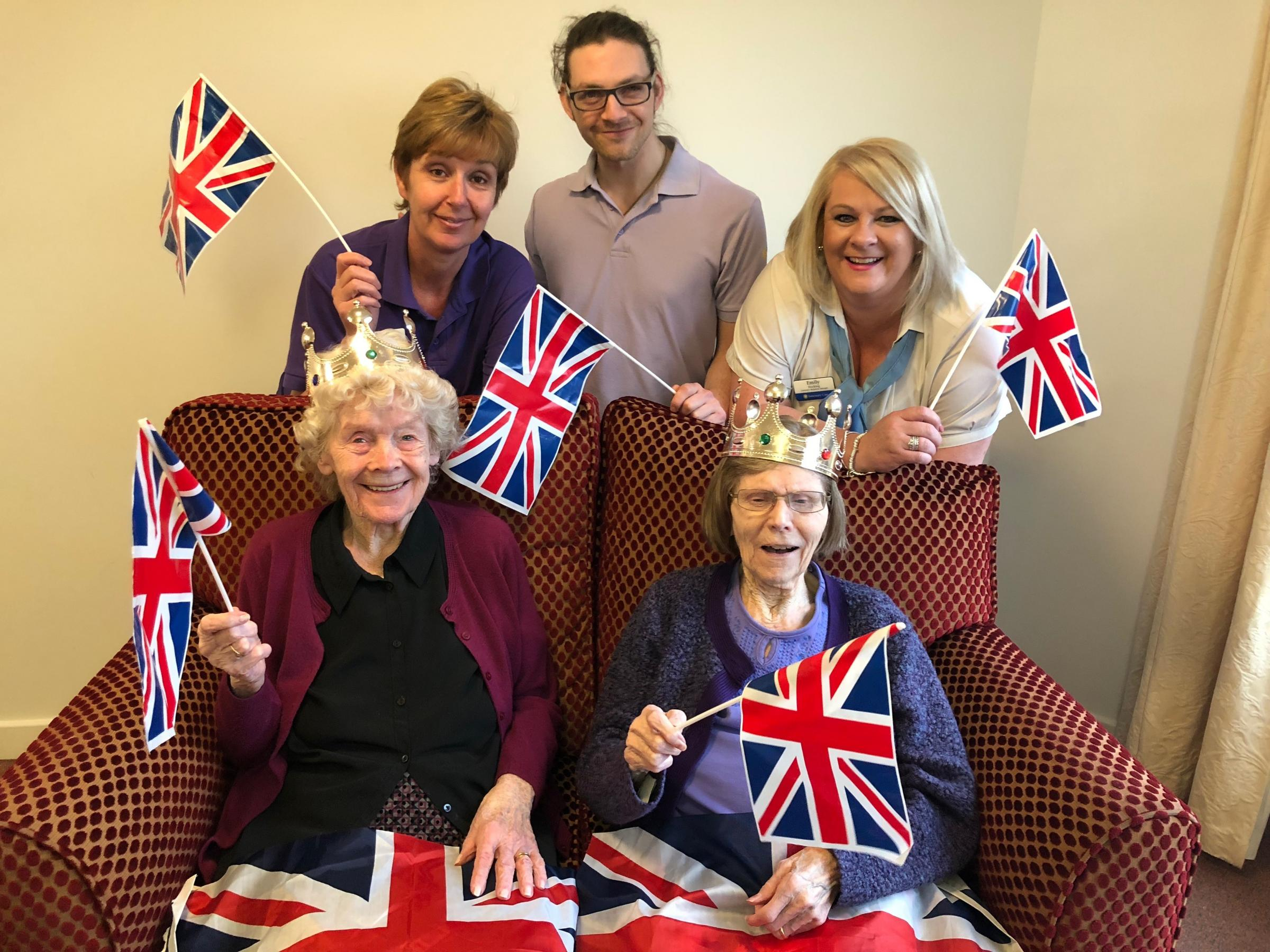 Breme's staff and residents, ready for their right royal tea party