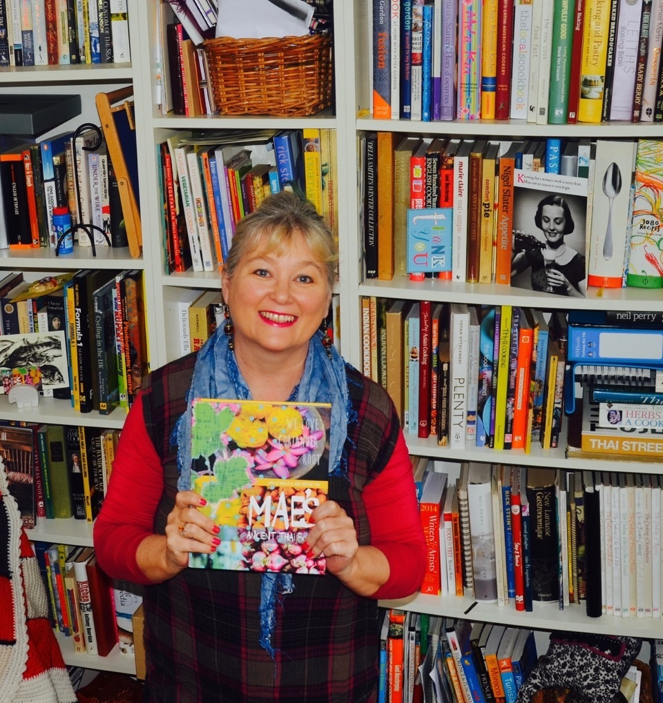 Carole Mason with her book Mae's Ancient Thai Food