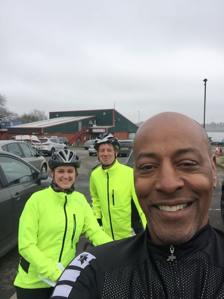 Brendon Batson with fellow cyclists Judith Ghotra and Nick Exley during the 'Ride the Reservoir'