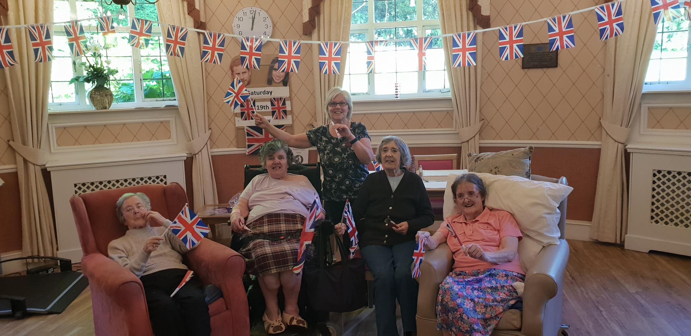 Residents Marie Sloane, Sylvia Lott, Joy Denton and Dorothy Pitts, with Heather Mitchell, lead activity co-ordinator