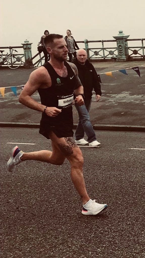 Karl Welborn running the Brighton Marathon
