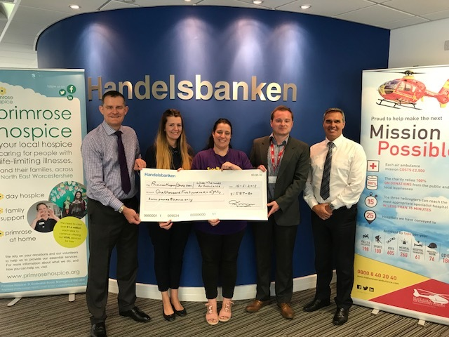 (l-r) Mark Turner from Handelsbanken, Kate Kelly from Primrose Hospice, Clare Weaver from Stroke Association, Adam Williams from West Midlands Air Ambulance, and Andrew Stell from Handelsbanken Bromsgrove