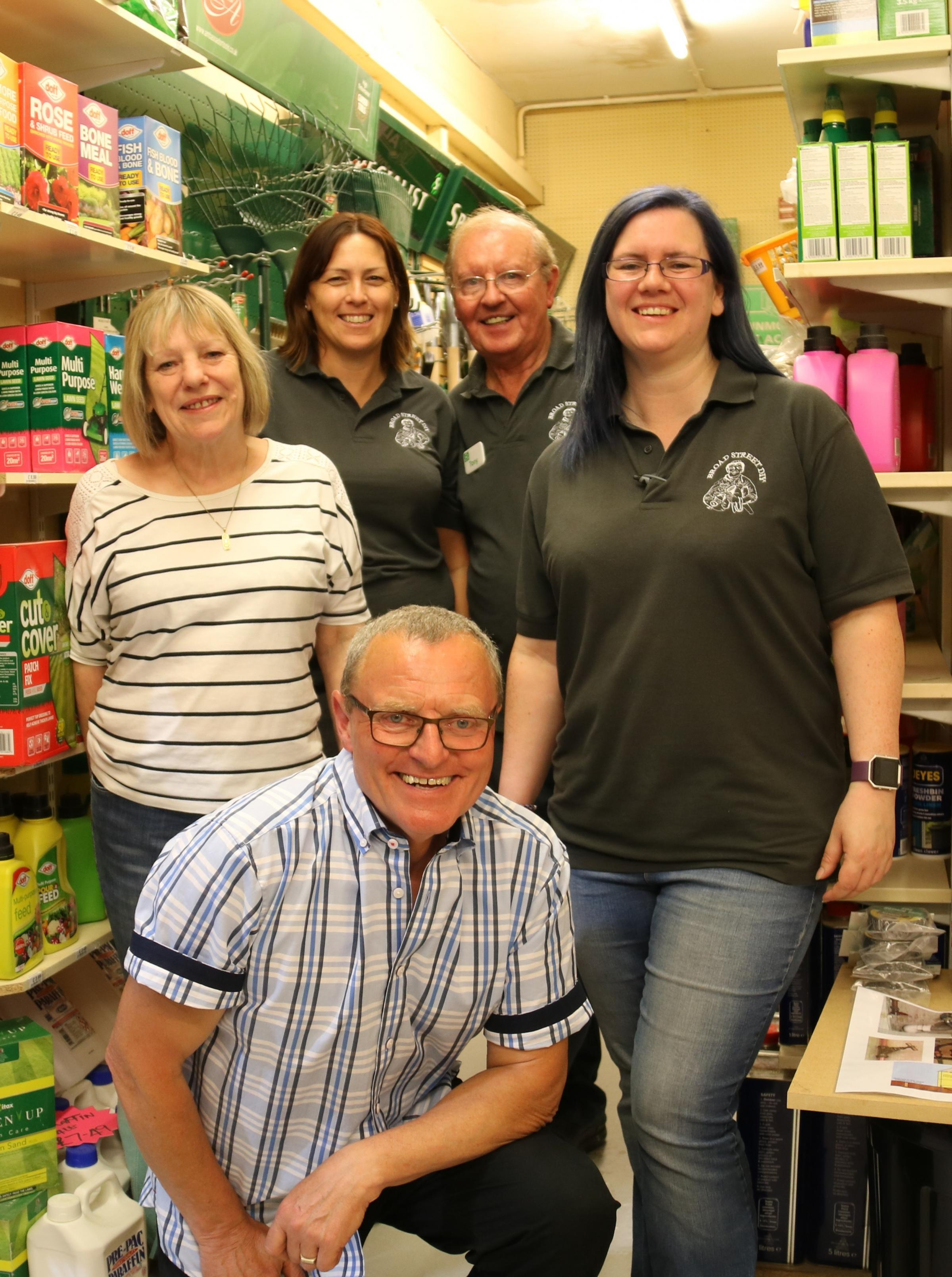 Reg Moule, Jenny Edginton, Hayley Warren, Tony Warren and Lisa Childs, of Broad Street DIY