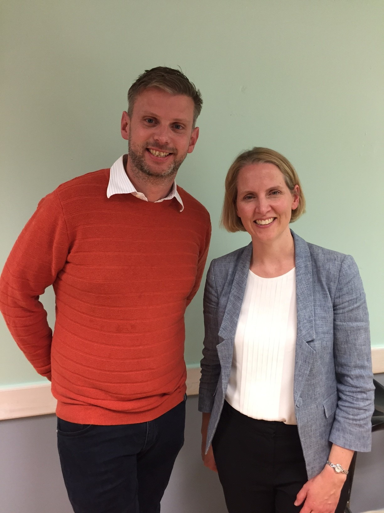 Emma Reynolds MP with Bromsgrove councillor Luke Mallett