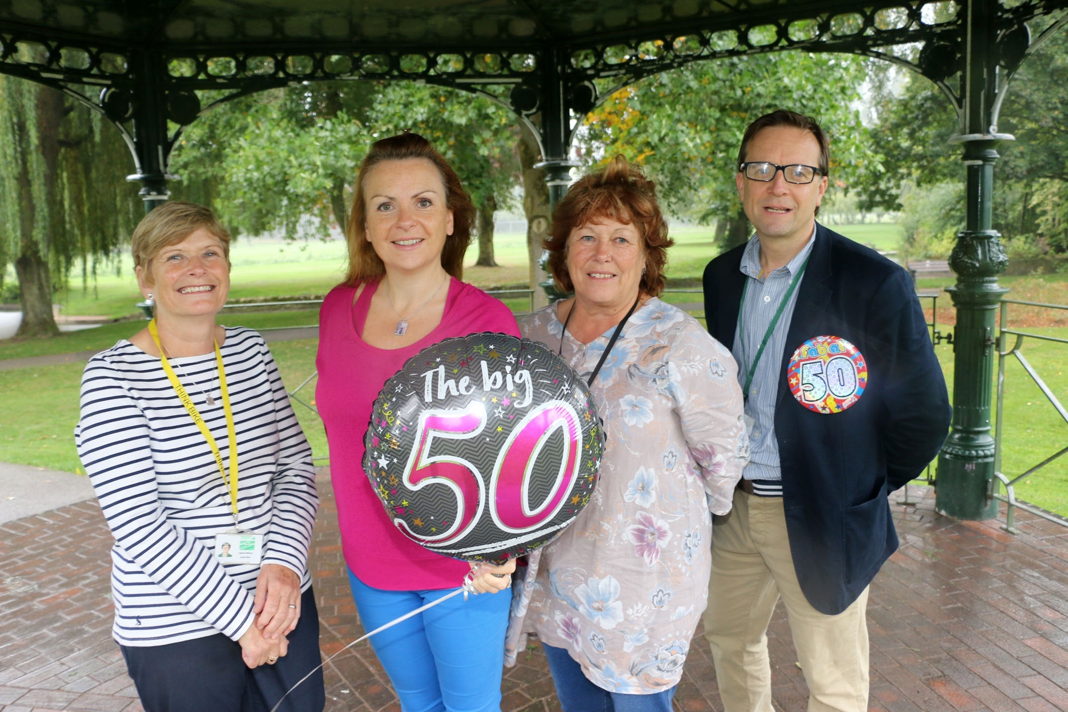 Events officer Val Wilson, Bromsgrove Society's Jo Slade, events assistant June Carmichael and arts development officer Huw Moseley