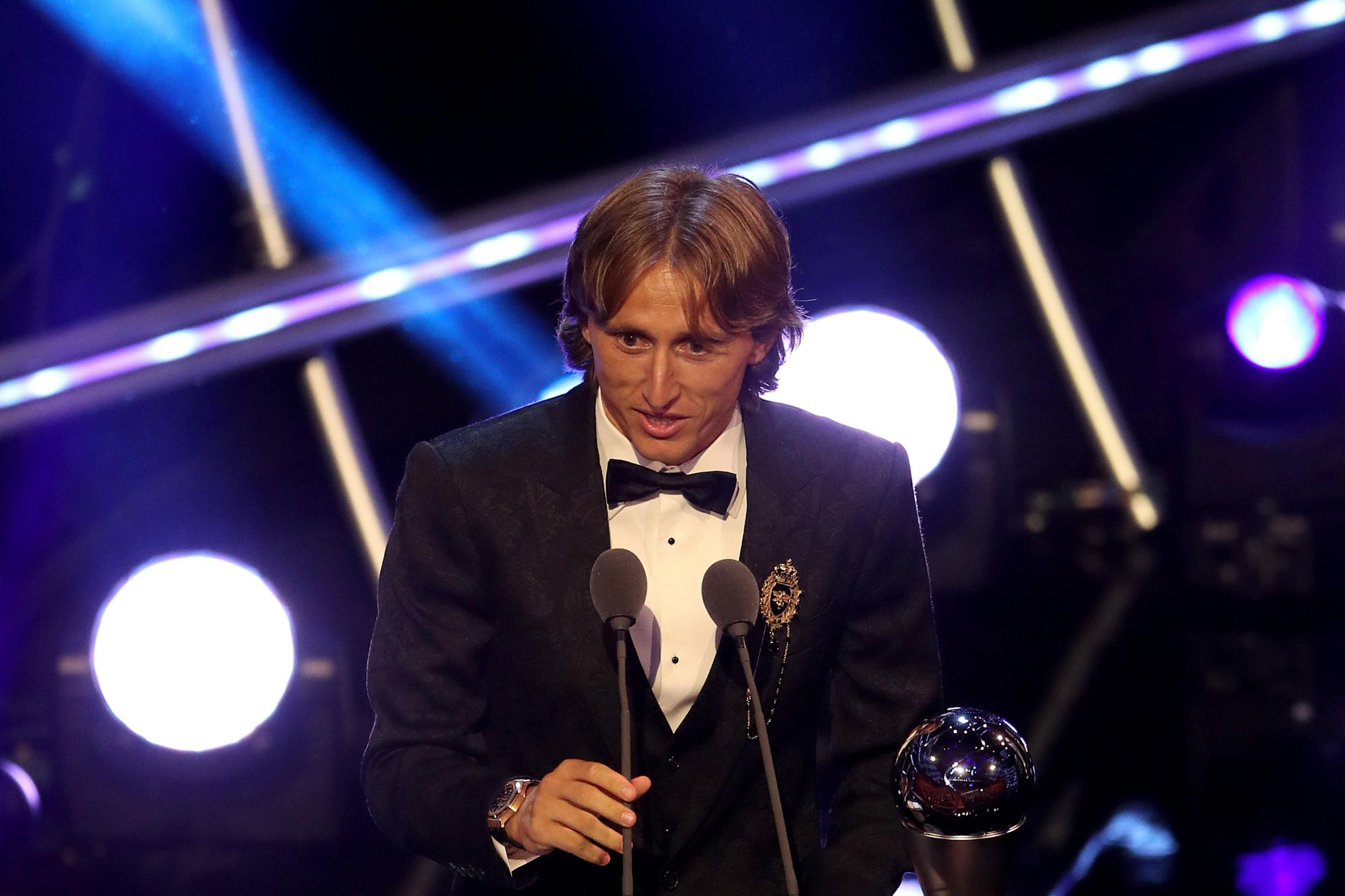 Luka Modric on stage after winning The Best FIFA Men's Player Award
