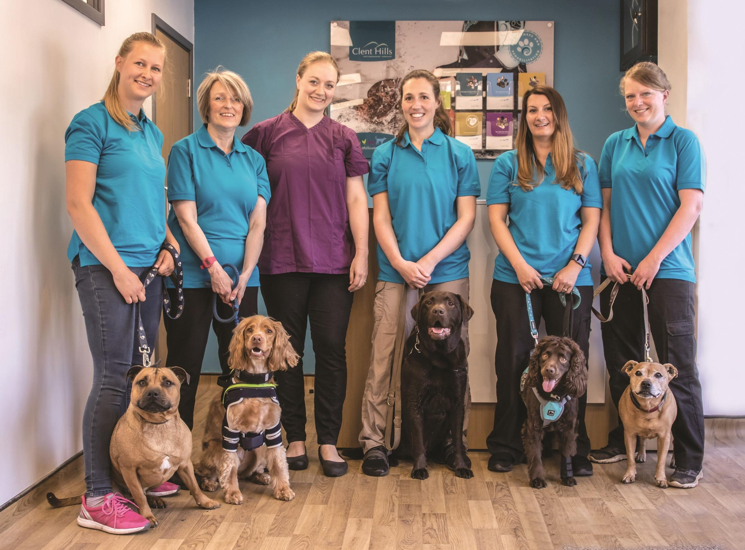 Clent Hills Vets staff and their pets. Photo by Rae Prince Photography