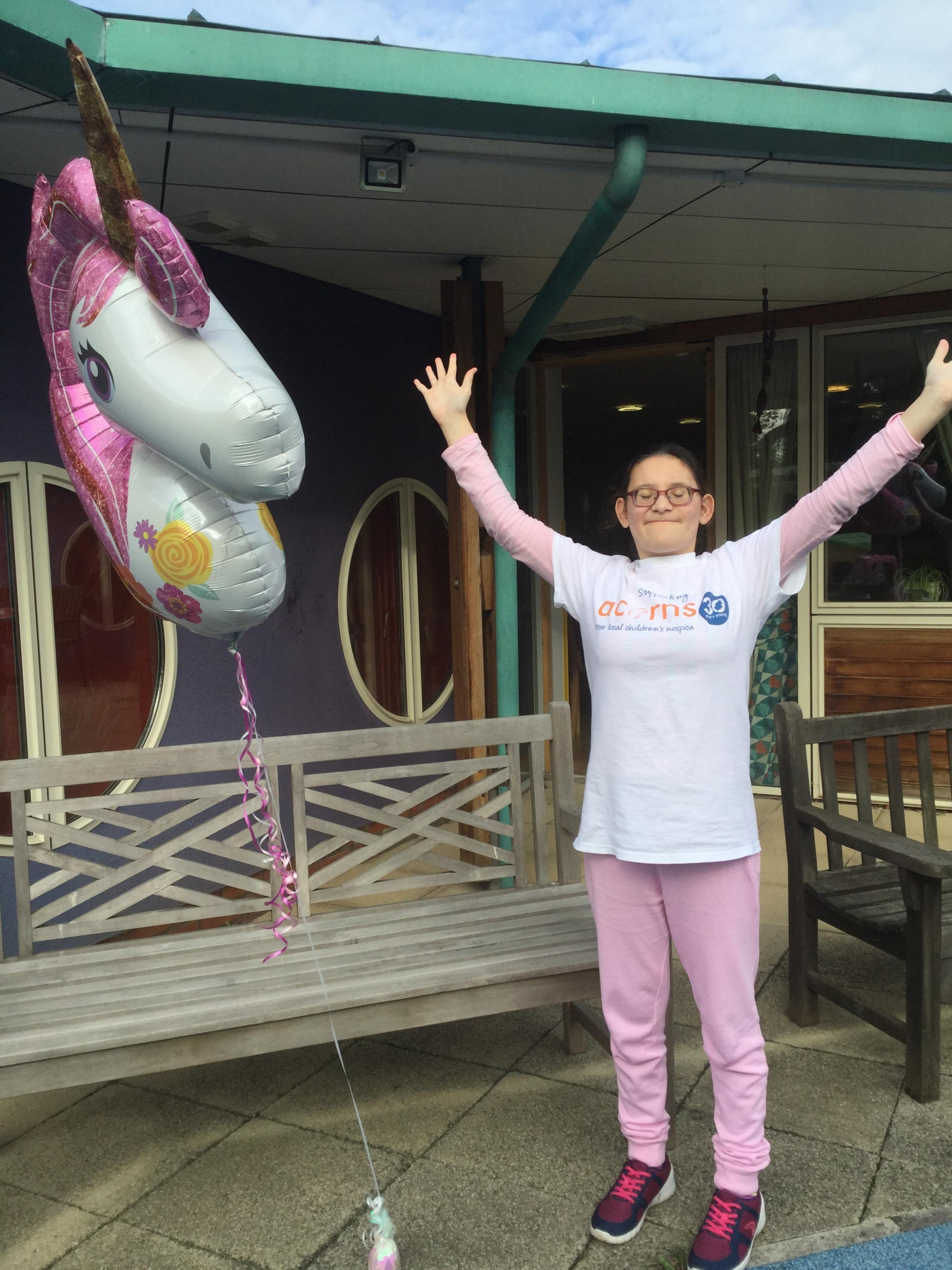 Louisa Frobisher Celebrates during a visit to Acorns