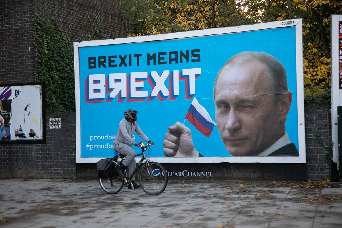 A billboard featuring Russian leader Vladamir Putin, in Hackney, east London, as an anonymous group of activists have erected billboards across London 'celebrating' the 'Brexit collaboration' between Russia and the UK.