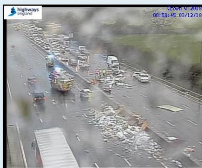 TRAFFIC CHAOS: The M5 this morning. Picture: Highways England