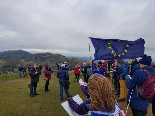 FLAG: Members of Worcestershire for Europe met at the Herefordshire Beacon