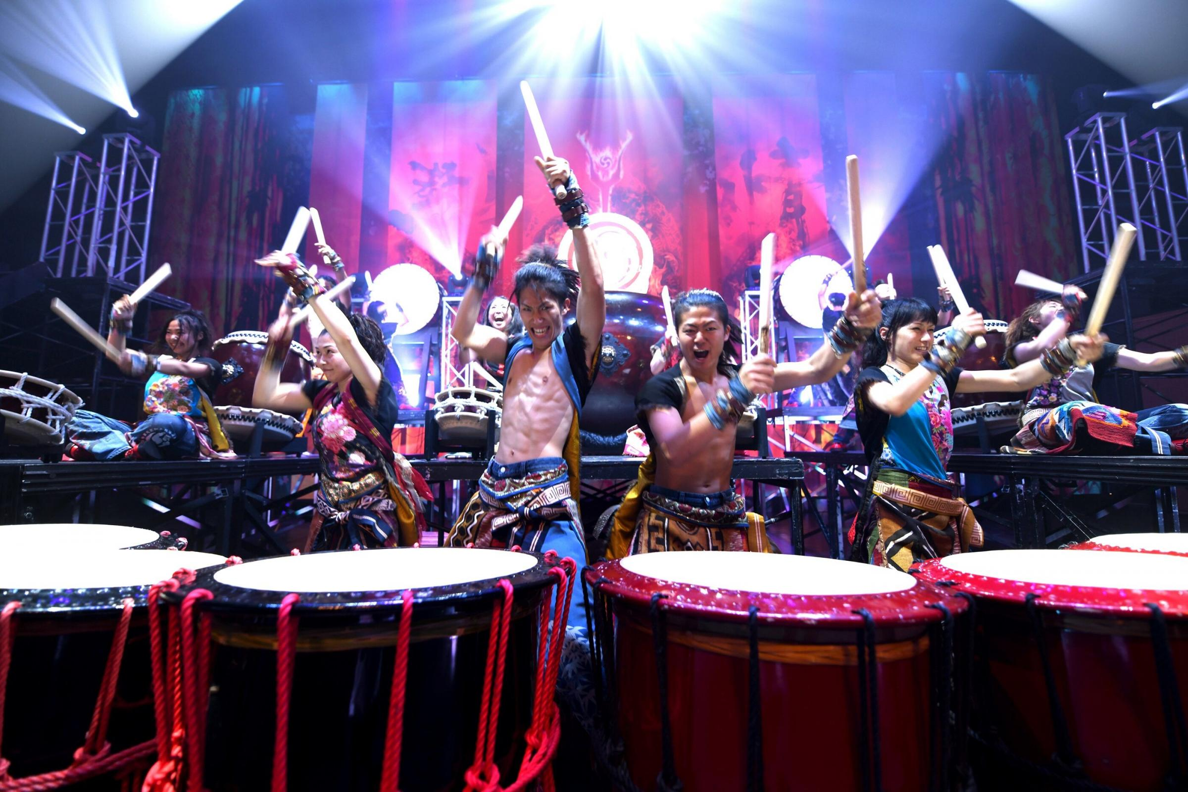 HIT THE BEAT: The Yamato Drummers in action.