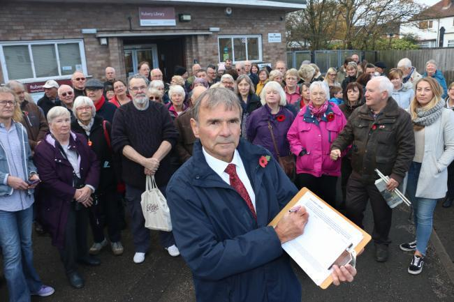 Councillor Peter McDonald and local residents protested about the possible closure of Rubery Library back in 2019.