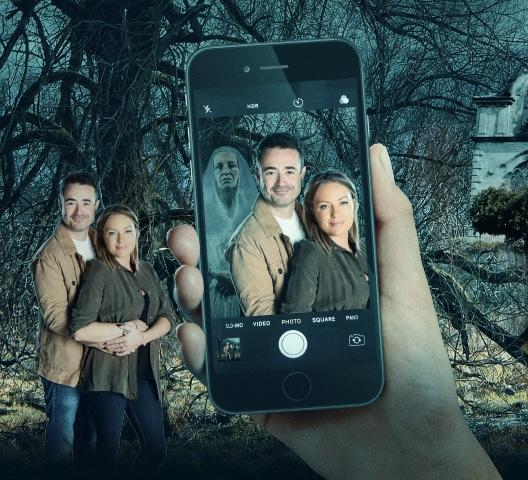 GRAPHICALLY GREY: Sinister events at Cold Hill featuring Joe McFadden as Ollie and Rita Simons as Caro, and another image as a spirit photobombs!