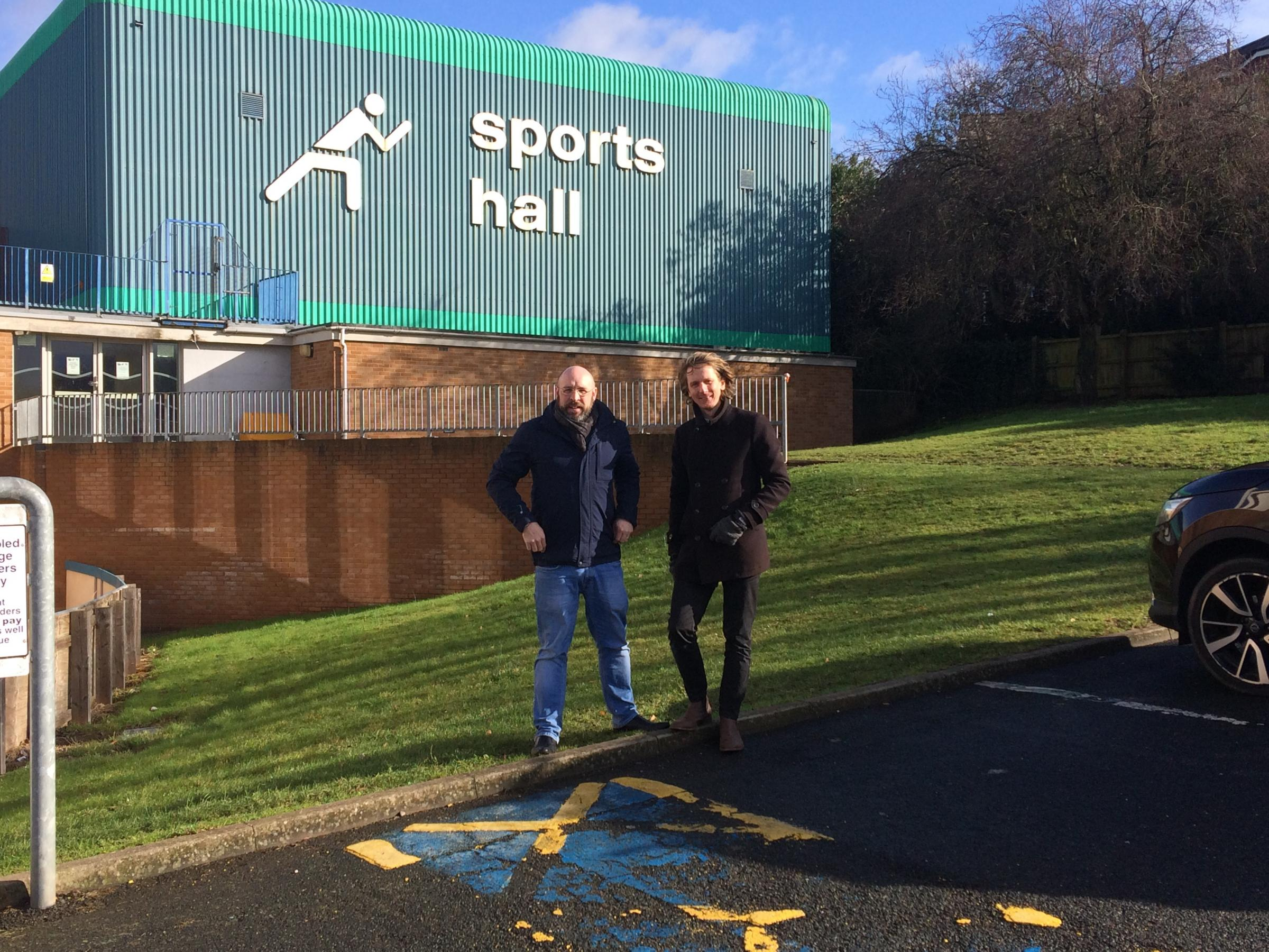 Michael Thompson (Labour leader and candidate for Charford) and Rory Shannon (Labour secretary and candidate for Aston Fields) outside of the condemned sports hall.