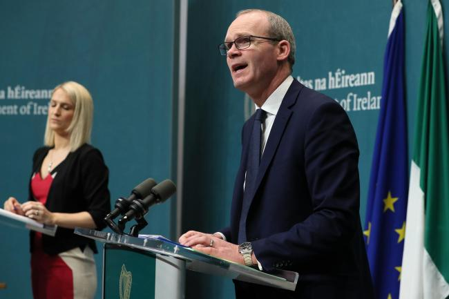 Simon Coveney and Helen McEntee at a press conference in Dublin