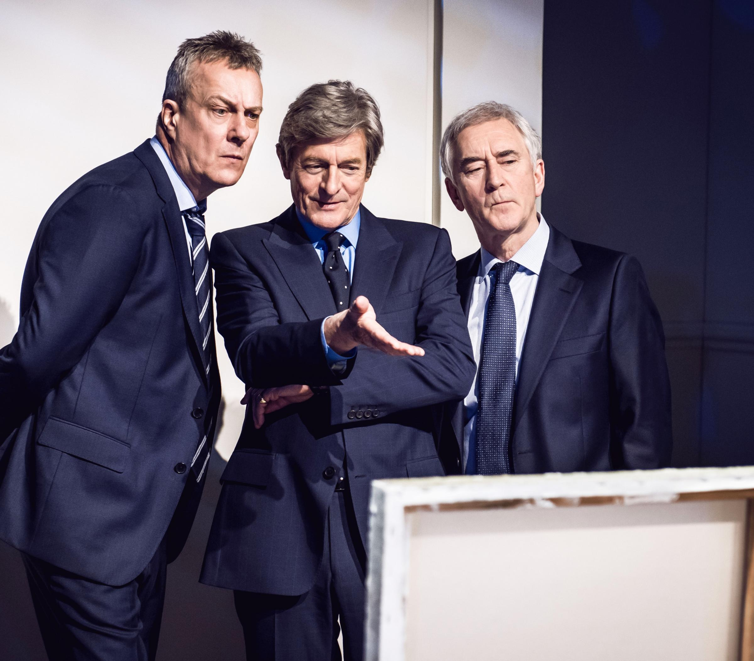 ALL WHITE?: Stephen Tompkinson, Nigel Havers and Denis Lawson in a scene from Art.
