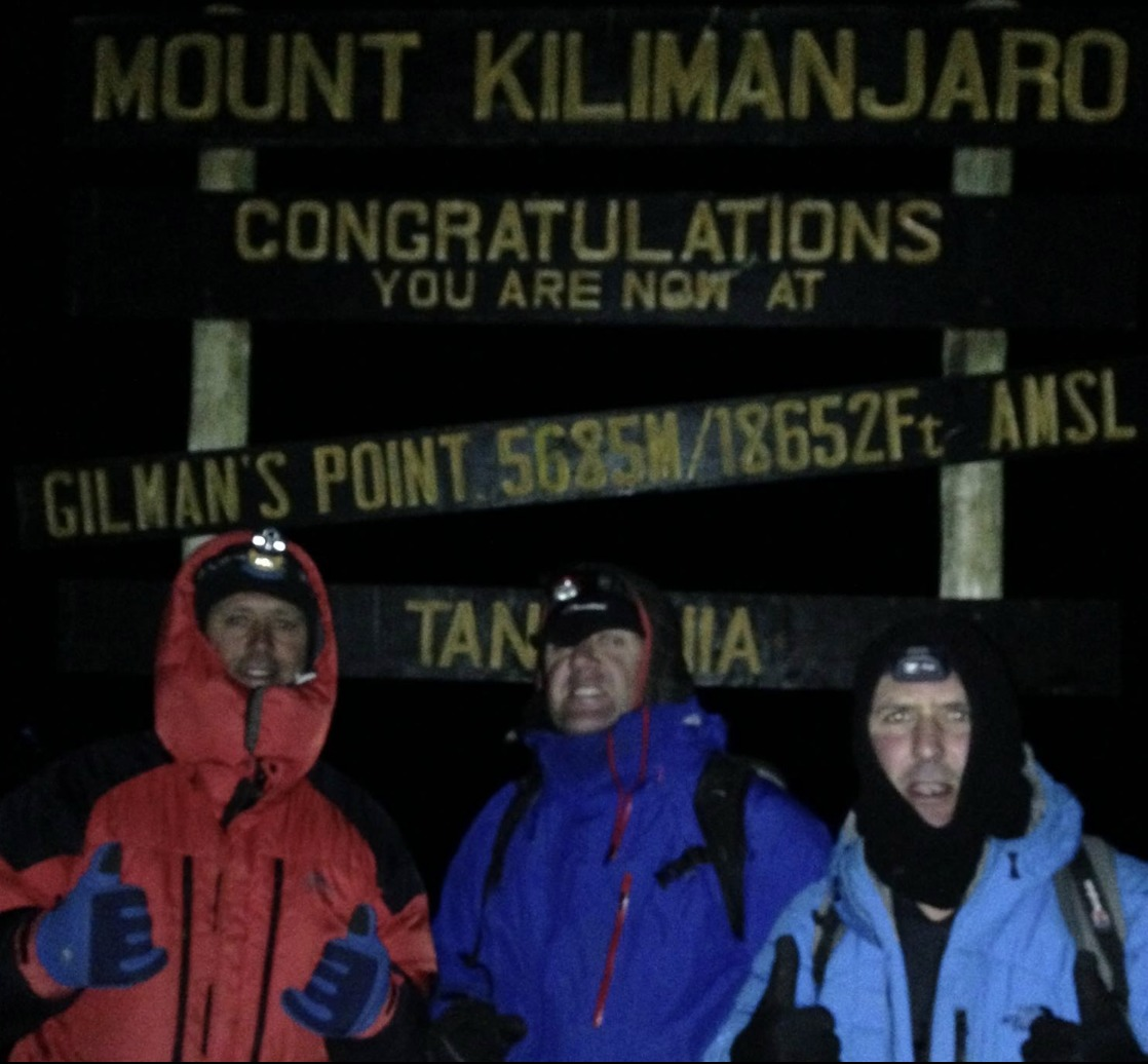 Former Royal Marine Ben Thomas with fellow intrepid explorers who all scaled Kilimanjaro in 2016.