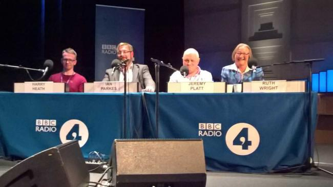 Ruth Wright with the other contestants, Harry Heath, Ian Parkes and Jeremy Platt, competing in Radio 4s Brain of Britain quiz