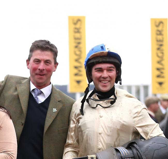Trainer Philip Rowley (left), pictured with jockey Alex Edwards, is targeting more Lady Dudley Cup success. Photo PA Images