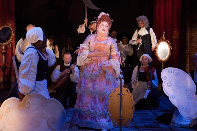SCHEMING: Caroline Quentin and the company in The Provoked Wife. Photo by Pete Le May of the RSC.