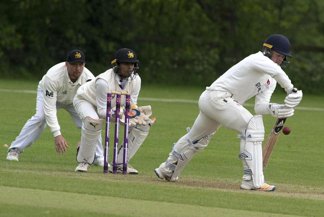Alex Milton in bat for Bromsgrove against Ombesley Corbett CC. Photo: Paul France